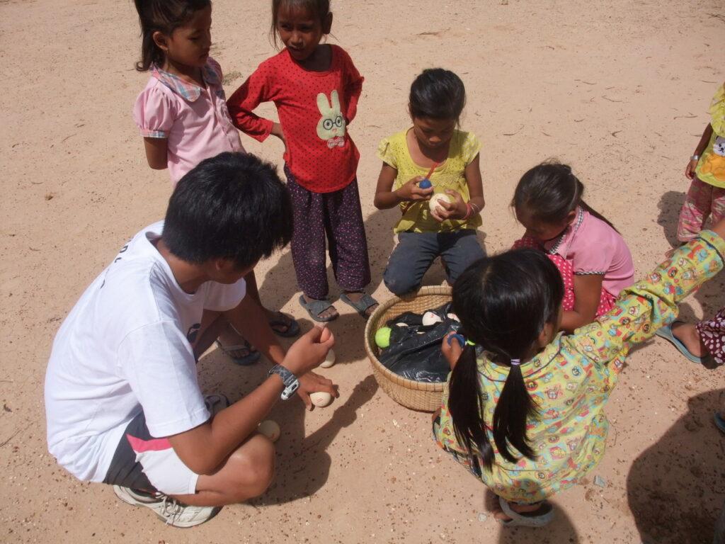 子どもたちと部活動の準備